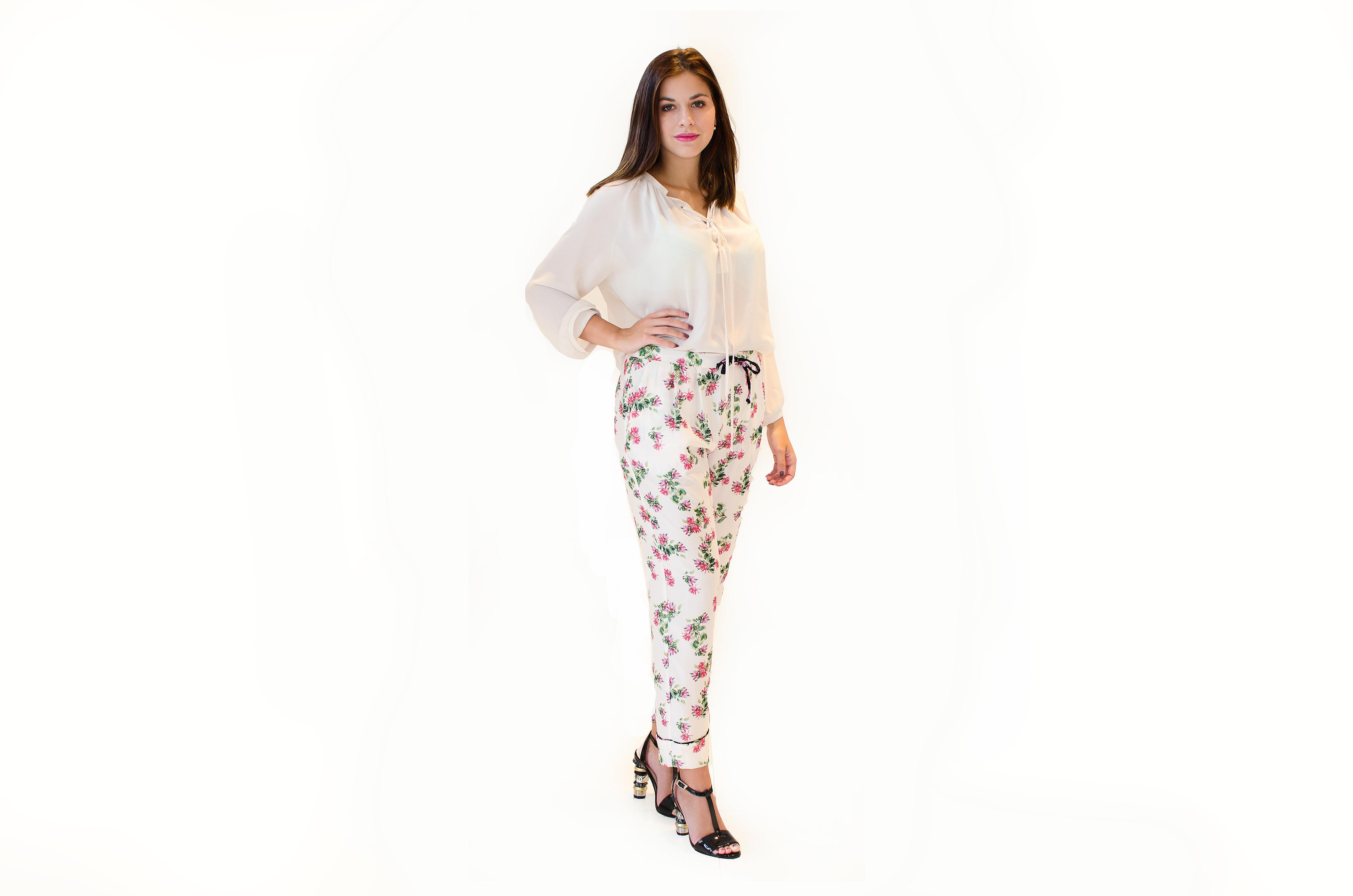 produkt_Květované vzdušné kalhoty
